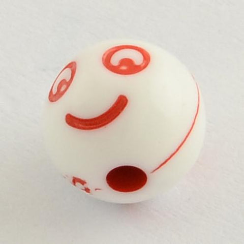 Charm/Pendant - Mini White Emoji Face Beads - 100 Pack