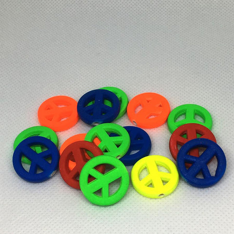 Charm/Pendant - Neon Peace Sign Beads - 20 Pack