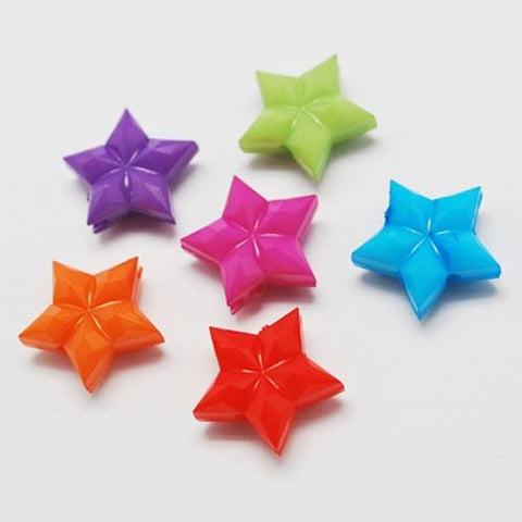 Charm/Pendant - Opaque Faceted Star Beads- 30 Pack