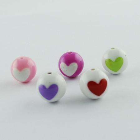 Charm/Pendant - Opaque Heart Gumball Beads - 20 Piece
