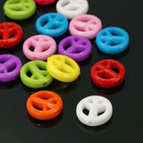 Charm/Pendant - Opaque Peace Sign Beads - 50 Pack