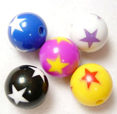 Charm/Pendant - Opaque Star Gumball Beads - 20 Pieces