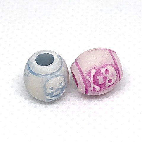 Charm/Pendant - Pirate Barrel Skull Beads Small (Pastel) - 100 Pieces