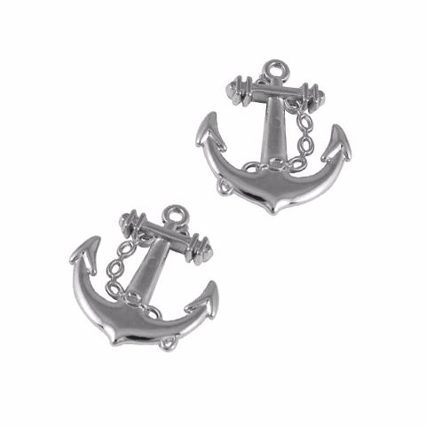 Charm/Pendant - Silver Anchor Charms - 20 Pieces