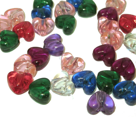 Charm/Pendant - Transparent Heart Beads - 100 Pack