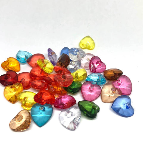 Charm/Pendant - Transparent Heart Beads - 100 Pieces