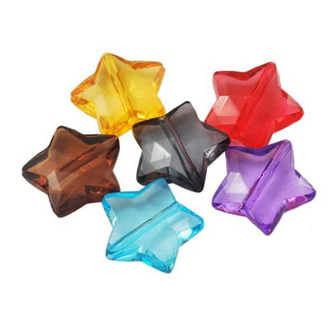 Charm/Pendant - Transparent Star Craft Beads - 50 Pack
