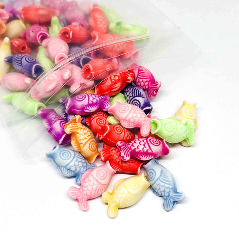 Charm/Pendant - Trippy Fish Beads - 50 Assorted