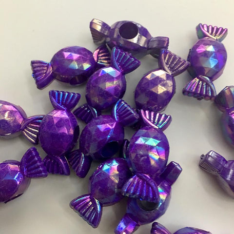 Charm/Pendant - Wrapped Candy Pearlescent Purple - Kandi Beads - 25 Pieces