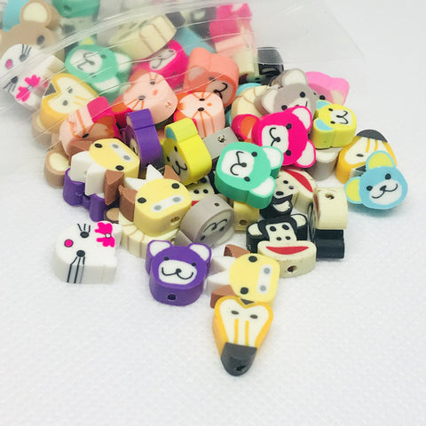 Craft Beads - Cute Animal Face Beads - 25 Pieces