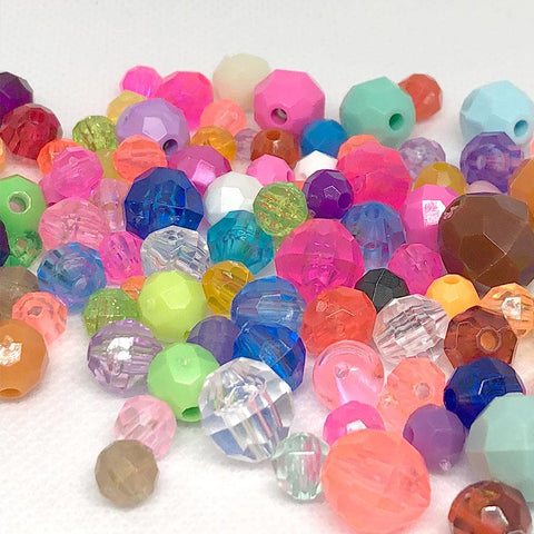 Craft Beads - Mixed Faceted Beads - 300 Pack