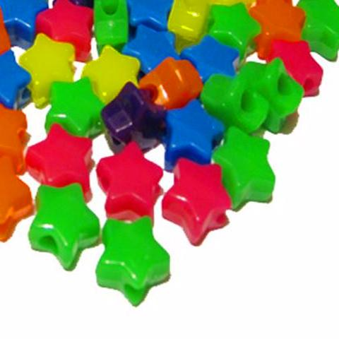 Craft Beads - Neon Star Beads - 100 Pack