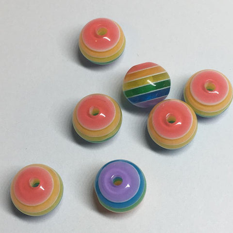 Craft Beads - Small Striped Rainbow Gumball Beads - 100 Pack