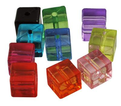 Craft Beads - Transparent Cube Beads- 100 Pack