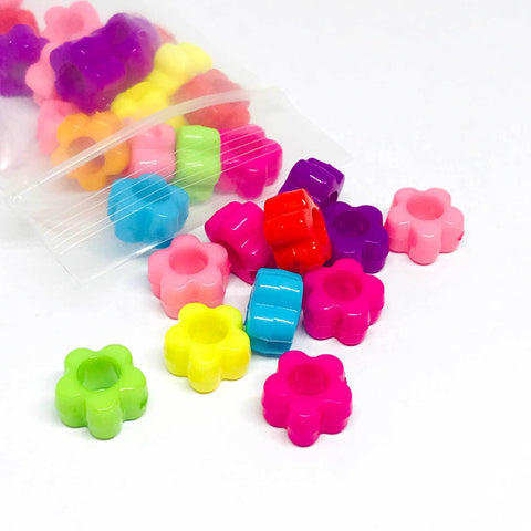 Flowers - Colorful Flower Beads - 100 Pieces