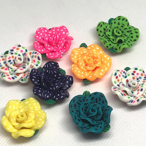 Flowers - Dotted Flower Beads - 10 Pieces