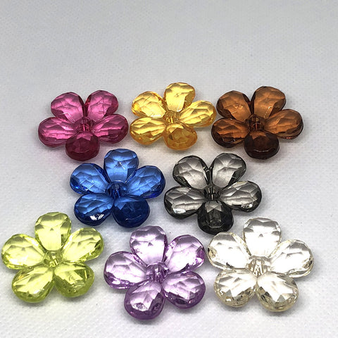 Flowers - Transparent Flower Beads - 15 Pieces