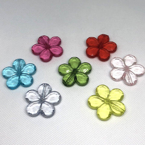 Flowers - Transparent Flower Beads Vertical Hole - 10 Pieces