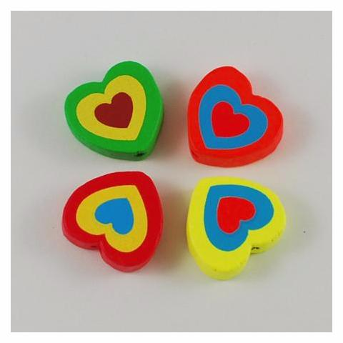 Hearts - Neon Wooden Heart Beads - 50 Pack
