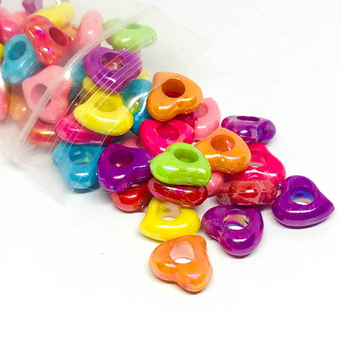 Hearts - Pearlized Hole Heart Beads - 100 Pieces