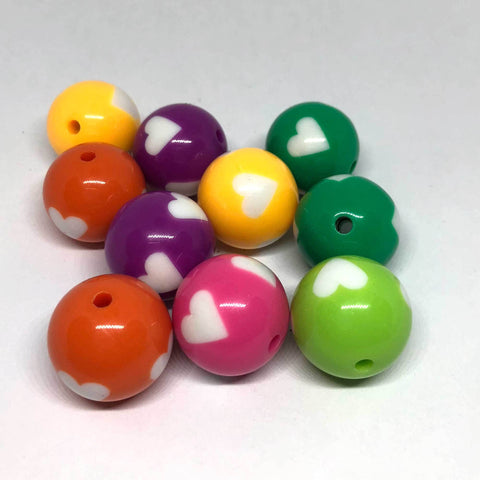 Jumbo Beads - Big Heart Gumball Beads - 15 Pieces