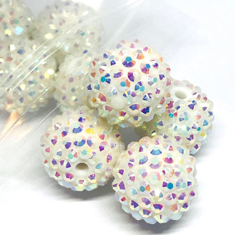 Jumbo Beads - Big Sparkle White Disco Beads - 10 Pieces
