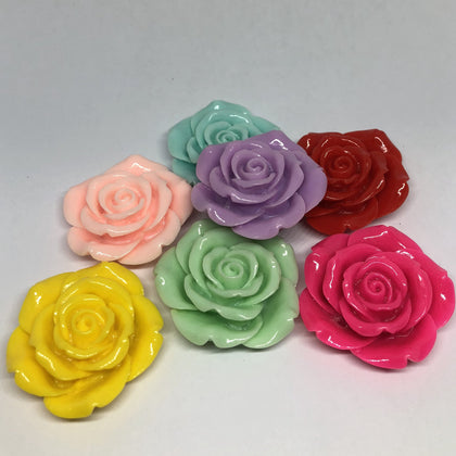 Jumbo Beads - Colorful Rose Beads - 5 Pieces