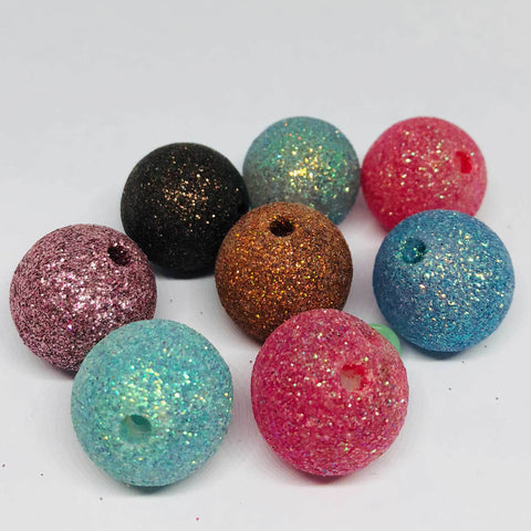 Jumbo Beads - Glitter Ball Beads - 10 Pieces