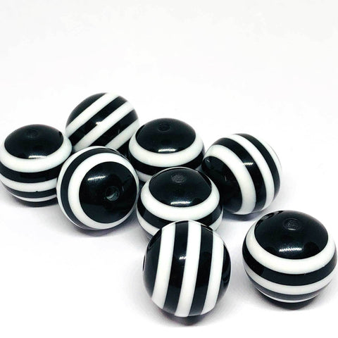 Jumbo Beads - Striped Black Beads - 10 Pieces