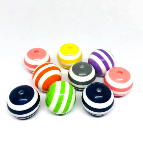 Jumbo Beads - Striped Mixed Beads - 10 Pieces