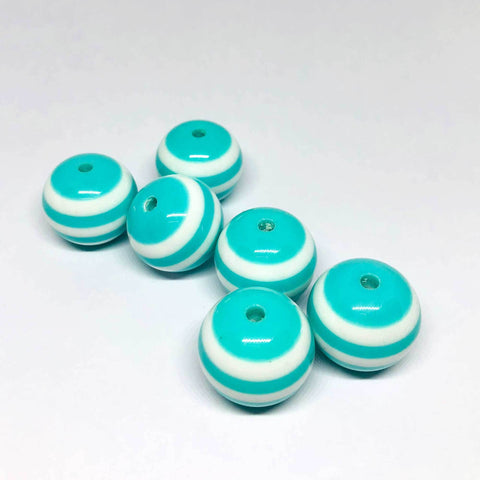 Jumbo Beads - Striped Teal Beads - 10 Pieces