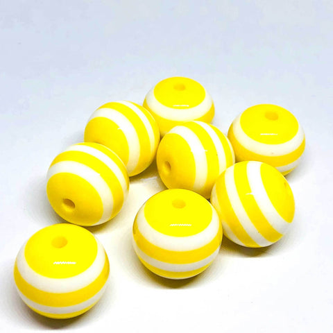 Jumbo Beads - Striped Yellow Beads - 10 Pieces