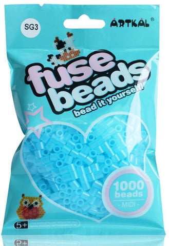 Midi Fuse Beads - Artkal Fuse Beads - SG3 Glow Blue 1000 Beads