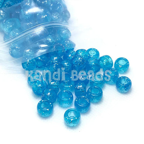 Pony Beads - Blue Sparkle Pony Beads Transparent - 300 Pack