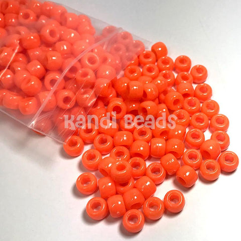 Pony Beads - Bright Orange Kandi Pony Beads - 300 Pack