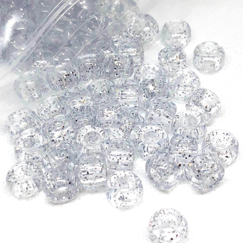 Pony Beads - Clear Sparkle Pony Beads - 300 Pack