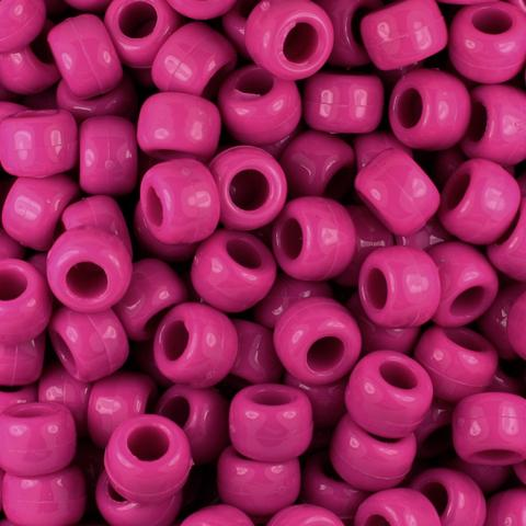 Pony Beads - Dark Pink Pony Beads - 300 Pack