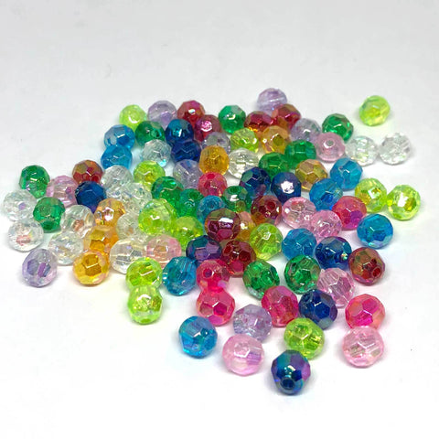 Pony Beads - Faceted Round Kandi Beads - 300 Pieces