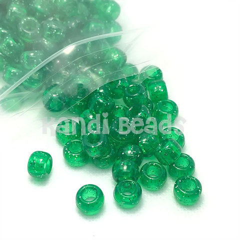 Pony Beads - Green Sparkle Pony Beads - 300 Pack