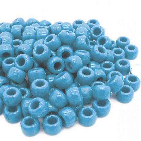 Pony Beads - Light Blue Pony Beads - 300 Pack