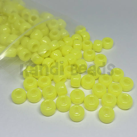 Pony Beads - Neon Yellow Pony Beads - 300 Pack