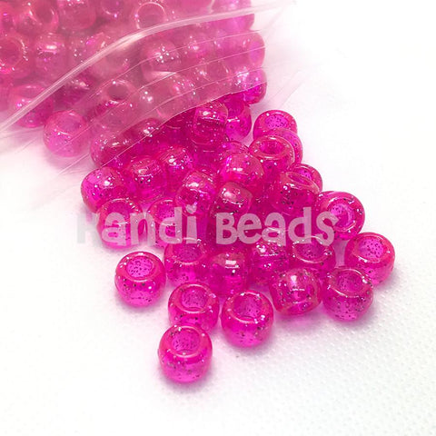 Pony Beads - Pink Sparkle Pony Beads - 300 Pack