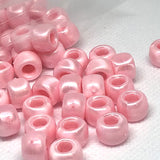 Pony Beads - Satin Pink Pony Beads Opaque - 300 Pack