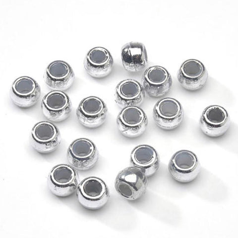 Pony Beads - Silver Pony Beads - 300 Pack