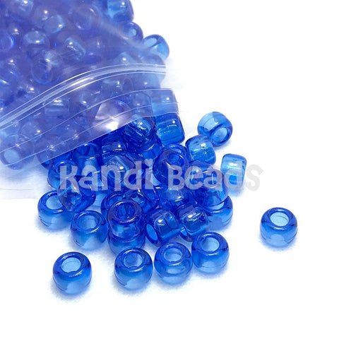 Pony Beads - Transparent Blue Pony Beads - 300 Pack