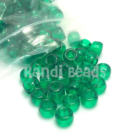 Pony Beads - Transparent Green Pony Beads - 300 Pack