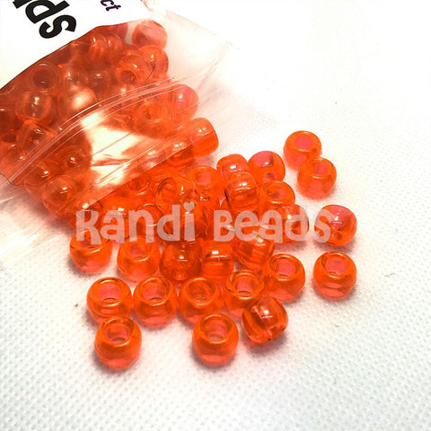 Pony Beads - Transparent Orange Pony Beads - 300 Pack