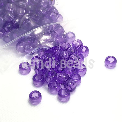 Pony Beads - Transparent Purple Pony Beads - 300 Pack