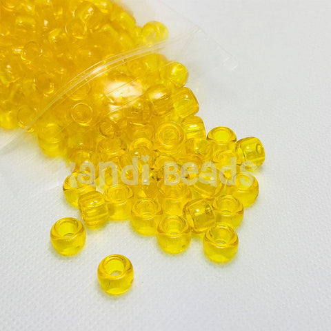 Pony Beads - Transparent Yellow Pony Beads - 300 Pack