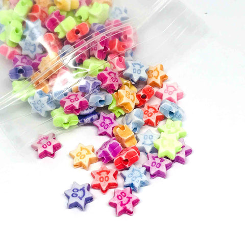 Star Beads - Smiley Star Beads - 100 Assorted